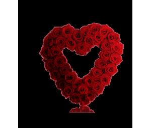 Coração de 75 Rosas Vermelhas Aberto