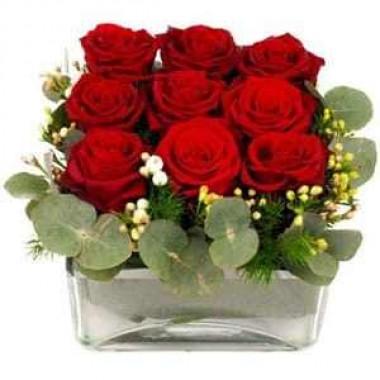 Cubo em Vidro com 9 Rosas