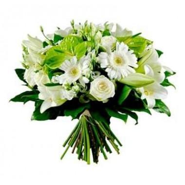 Bouquet de Flores Branco e Verde