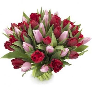 Bouquet de Tulipa Rosa e Vermelha
