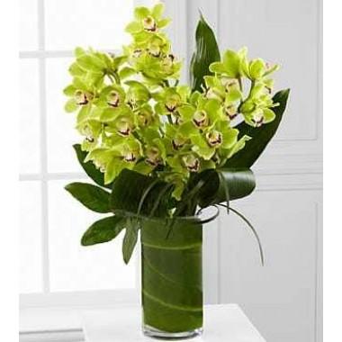 Jarra em Vidro com Orquídeas