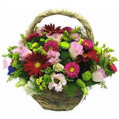 Cesto de Flores Cor-de-Rosa e Vermelho