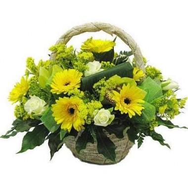 Cesto de Flores Amarelo e Verde
